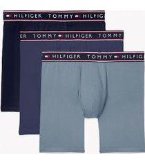 tommy hilfiger men's cotton stretch boxer brief 3pk navy/vintage indigo/blue fog - s