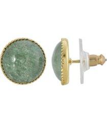 2028 gold-tone semi precious round stone stud earrings