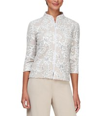 alex evenings embroidered sequined 3/4-sleeve jacket