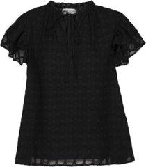 blouse met ruches seraphina  zwart