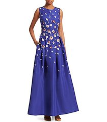 lucille embroidered floral silk gown