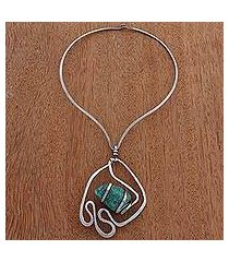 amazonite pendant necklace, 'aqua duchess' (brazil)