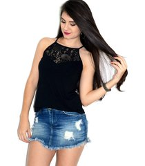 blusa regata up side wear renda preta