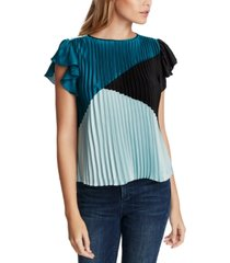 1.state colorblocked pleated flutter-sleeve top