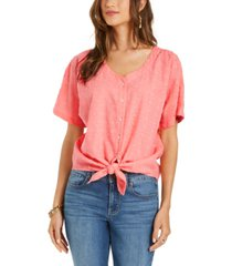style & co cotton tie-front shirt, created for macy's