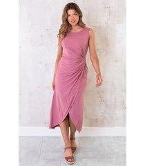 jersey jurk geknoopt dust roze