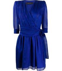 federica tosi chiffon surplice dress - blue