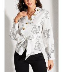 yoins blanco cinturón diseño blusa con mangas farol con cuello en v y letras