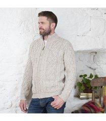 men's soft merino wool zip cardigan beige small