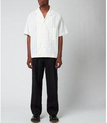 maison margiela men's smooth linen trousers - black - it 50/l