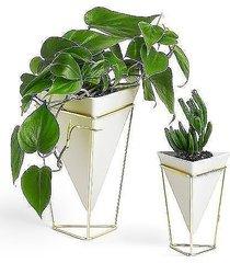 pojemnik wazon 2 szt. triangle biały