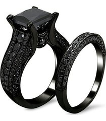 14k black gold plated 1.2ct princess cut black sim. diamond engagement ring set