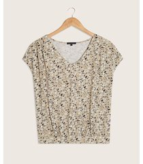camiseta manga corta estampada con pretina y recogidos
