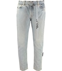 off-white belted slim fit jeans