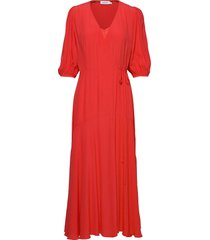 3/4 slv wrap maxi dr jurk knielengte rood calvin klein