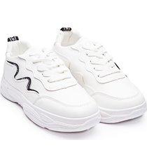tenis lineas curvas negras color blanco, talla 39