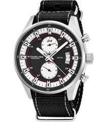 stuhrling original men's quartz, silver case, silver dial; black and grey stripped nylon strap date dual time watch