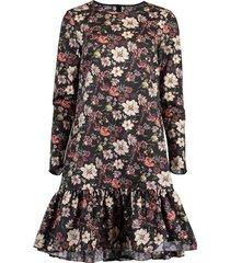 black long sleeve floral print ruffle hem dress