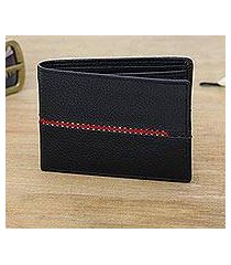 men's leather wallet, 'suave in red' (india)