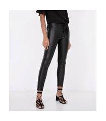 calça legging em material sintético com zíper lateral | cortelle | preto | gg