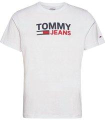tjm corp logo tee t-shirts short-sleeved vit tommy jeans
