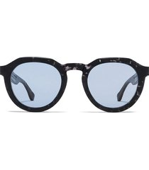 round raw black and sky blue sunglasses