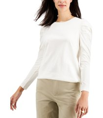 charter club petite puff-sleeve cotton top, created for macy's