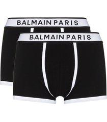 balmain logo-waistband set of two boxer shorts - black