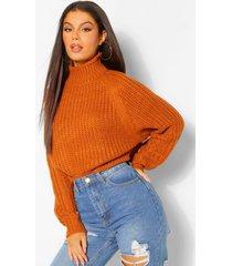 chunky high neck crop sweater, turmeric