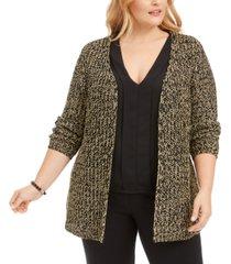 belldini plus size metallic cardigan sweater