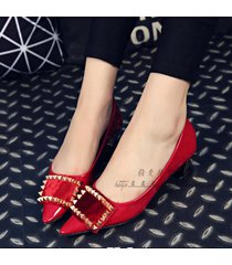 pp114 elegant low-heeled pump w gold trivets plate top, size 35-50, red