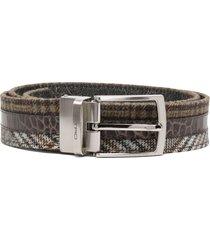 etro reversible patchwork belt - brown