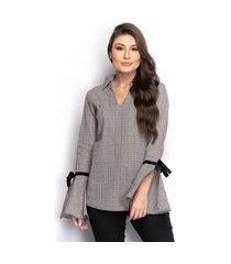 camisa camisete feminina xadrez manga flare laço casual
