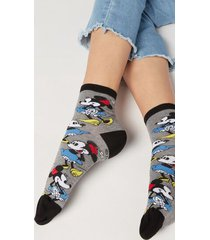 calzedonia disney pattern cotton ankle socks woman grey size tu