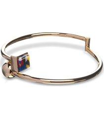 egotique designer bracelets, arlequin golden brass thin bangle w/multicolor stone