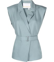 remain belted sleeveless blouse - blue