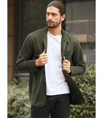 chaqueta de manga larga con cuello alto y botón de otoño para hombre
