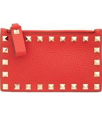 women's valentino garavani rockstud leather zip card case - red