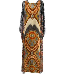 afroditi hera drape multi-pattern maxi dress - black