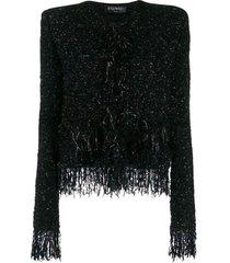 fringed metallic tweed jasje