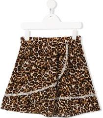 caffe' d'orzo teen kira leopard-print skirt - neutrals