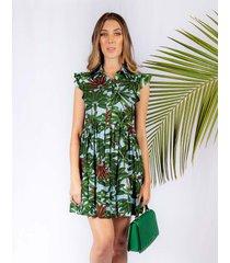 vestido adrissa camisero estampado palmeras