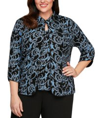 alex evenings plus size printed jacket & top set