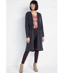 maurices womens dark gray crochet waist cardigan
