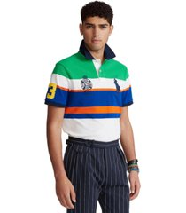 polo ralph lauren men's custom slim fit striped mesh polo shirt