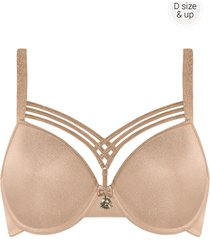 dame de paris plunge bh | wired padded sand and golden lurex - 75f