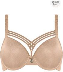 dame de paris plunge bh | wired padded sand and golden lurex - 80g