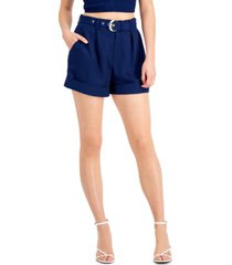 bar iii solid high-waist pleat-front belted shorts, created for macy's