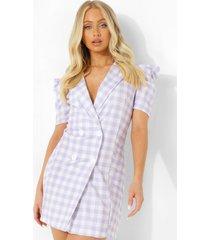 gingham blazer jurk met pofmouwen, lilac