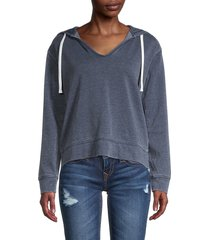 splendid women's brushed pullover hoodie - navy - size xs